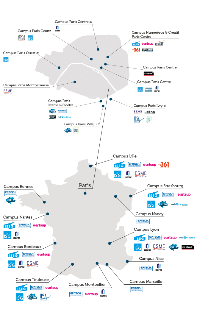 Carte Campus Bordeaux.Urban Campuses Of The Ionis Group