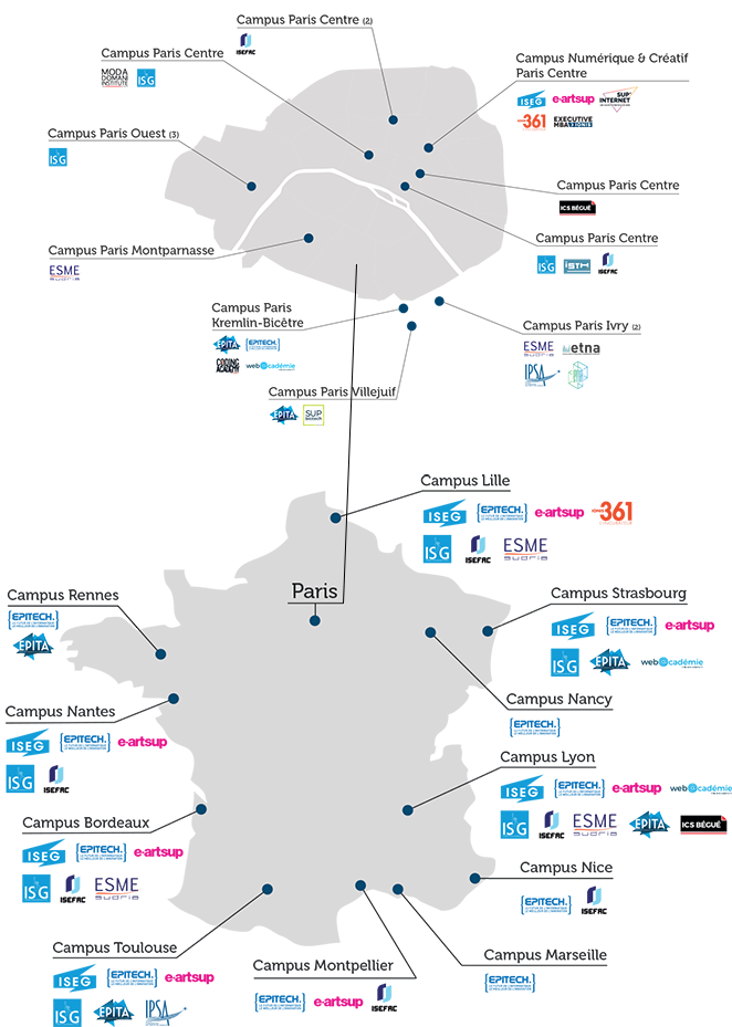 Carte des implantations du Groupe IONIS en France